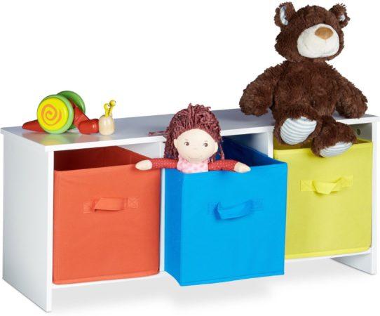 Afbeelding van Witte Relaxdays - kinderbankje met opbergruimte - bankje met speelgoedkist, vouwkisten