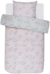 Roze Covers & Co Loveletter - Dekbedovertrek - Eenpersoons - 140x200/220 cm + 1 kussensloop 60x70 cm - Rose/grey