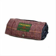 Paarse Tweedmill Handige en compacte picknickkleed voor 1-2 personen | Walker Companion Tweed Herringbone Purple/Navy | Tweed met kunststof beschermlaag | Makkelijk mee te nemen tijdens een wandeling | Made in the UK