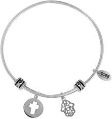 CO88 Collection Celestial 8CB 25001 Stalen Armband met Hangers - Kruis en Hand van Fatima - One-size - Zilverkleurig