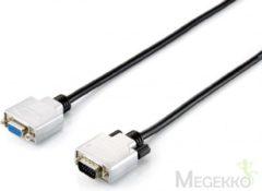 Zilveren Equip - VGA (D-Sub) naar VGA (D-Sub) female - 3 m - Zwart;Zilver