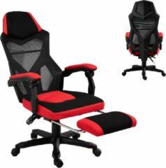 NiceGoodz Game Stoel - Gaming stoel - Gaming chair - Met voetensteun - Racing style - Zwart/Rood