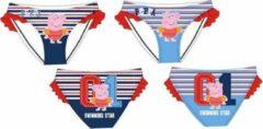 Rode Peppa Pig Bikinibroekje van Peppa Big lichtblauw gestreept maat 104