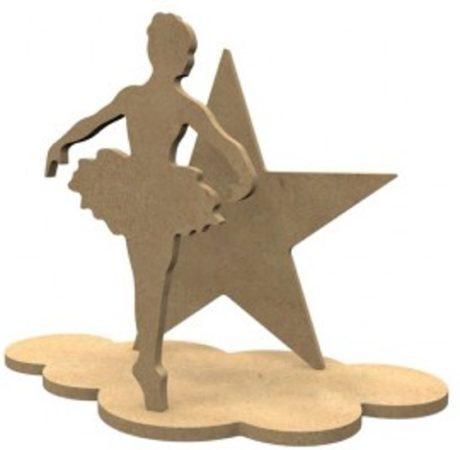 Afbeelding van Naturelkleurige Gomille MDF Figuren Ballerina Set 24x18 cm