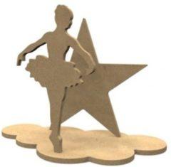 Naturelkleurige Gomille MDF Figuren Ballerina Set 24x18 cm
