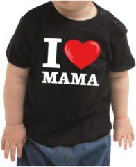 Bellatio Decorations I love mama cadeau t-shirt zwart voor baby / kinderen - jongen / meisje 80 (7-12 maanden)