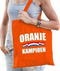 Bellatio Decorations Oranje kampioen katoenen tas/shopper oranje voor dames en heren - Nederland supporter - Koningsdag/ EK/ WK voetbal