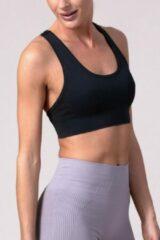 Zwarte REVIVE Sportswear REVIVE seamless Sport bh TROFA - duurzaam - met uitneembare cups