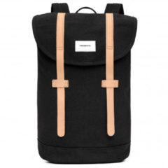 Zwarte Sandqvist Stig Backpack black with natural leather backpack