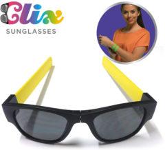 Clix Zonnebril inklapbaar Rood - vakantiegadget 2019 - opvouwbare zonnebril - oprolbare pootjes - fietsbril - festivalbril - hang aan je stoel of fiets - rol om je pols - handige bril