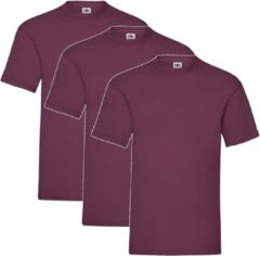Bordeauxrode 3 Pack Shirts Fruit of the Loom Ronde Hals Burgundy Maat M Valueweight