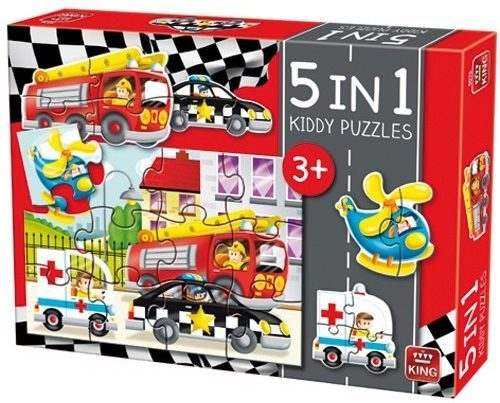 Afbeelding van King International Kiddy Kinderpuzzel Auto's - 5 in 1 Puzzel