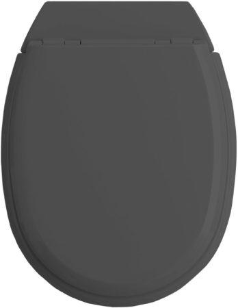 Afbeelding van Antraciet-grijze Allibert wc-bril ATLAS - geperst hout - afklikbaar - met regelplaat - anthraciet grijs gelakt