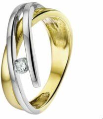 Quickjewels huiscollectie Huiscollectie 4205711 Bicolor gouden zirkonia ring