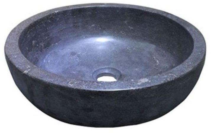 Afbeelding van Zwarte Wiesbaden Waskom Natuurstenen Erie rond 40 x 12 gewicht: 22 kg handgemaakt