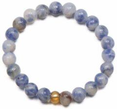 Yada Ring Kralen - Handgemaakt Natuursteen - Witblauw