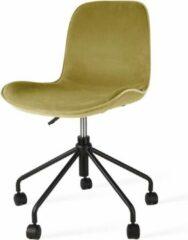 Nolon Nout bureaustoel zwart - Velvet zitting olijf groen