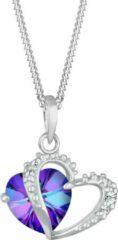 Elli Halsketting Paars hartje Swarovski® Kristal 925 Sterling Zilver