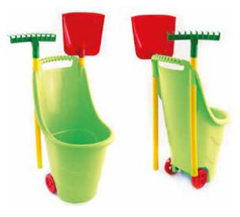 Paradiso Toys trolley met hark en schep 77 cm groen