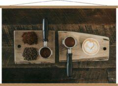 Beige KuijsFotoprint Schoolplaat – Gemalen Koffiebonen en Koffie op een Plankje - 120x80cm Foto op Textielposter (Wanddecoratie op Schoolplaat)