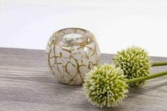 Waxinelicht Mini Urn Wit met bladgoud Loranto Glas
