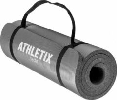 Athletix® Premium NBR Fitnessmat - Yogamat - 183 x 61 x 1 cm - met Draagriem en Draagtas - Grijs