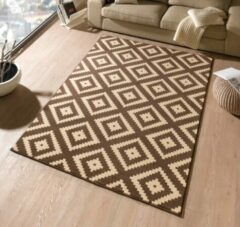 Hanse Home Modern vloerkleed ruiten Diamond - donkerbruin/beige 200x290 cm