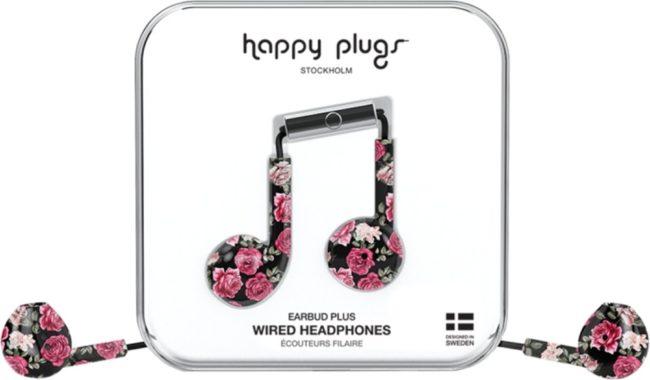 Afbeelding van Happy Plugs Earbud Plus - In-ear oordopjes - Roze/zwart gebloemd