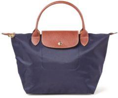 Donkerblauwe Longchamp Le Pliage handtas S met leren details