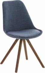 Luxe Comfort Bezoekersstoel - Hout - Stof - Ronde Poten - Walnoot - Blauw