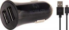 Zwarte Mobilize Car Charger Dual USB 2.4A + 1m Micro USB Cable Black