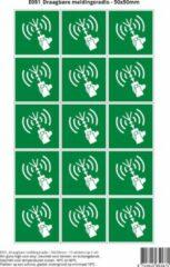 Groene Stickerkoning Pictogram sticker E051 Draagbare meldingsradio - 50x50mm 15 stickers op 1 vel