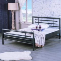 Antraciet-grijze Bed Box Holland - Lola metalen bed - Antraciet - 90x220