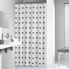 Sealskin douchegordijn Signes 100% polyester zwart print 180x200 cm