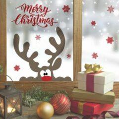 Rode Crearreda Muursticker Merry Christmas Rendier – Kerststickers – Vinyl – Raamstickers – Raamdecoratie Kerstmis – 13 stickers