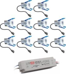 Grijze HOFTRONIC™ Complete veranda set 10x3W niet dimbare Milano LED inbouwspots IP65 [spatwaterdicht]