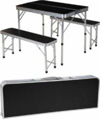 Zwarte Generic Inklapbare campingtafel met 2 banken - 90 x 60 x 70cm