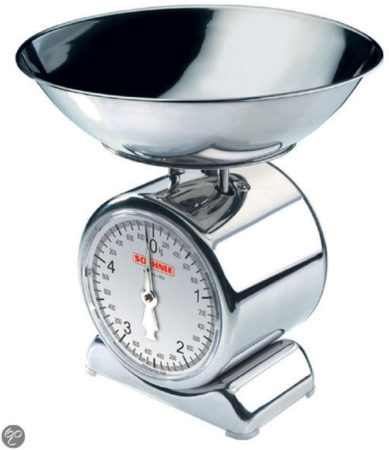 Afbeelding van Zilveren Soehnle keukenweegschaal met weegplateau van edelstaal, Silvia