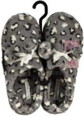 Apollo Instap sloffen/pantoffels panter met balletjes voor dames - Grijs/witte slippers voor dames 39-40
