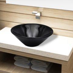 Nero VidaXL Lavandino da bagno in ceramica nera rotondo