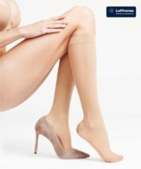 Beige FALKE Leg Energizing 30 Dames Steunkniekous 41763 - Huidskleur 4069 powder Dames - 41-42