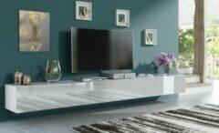 Pro-meubels - Zwevend Tv-meubel - Tv kast - Tunis - Hooglans wit - 300cm 3x100cm
