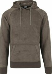Urban Classics Imitation Suede Hoody Olive Maat:S