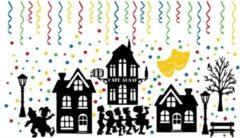 Rosami Decoratiestickers Raamstickerset 156 delig Carnaval silhouet huisjes & confetti herbruikbaar | Rosami