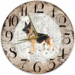 Bruine Creatief Art Houten Klok - 30cm - Hond - Duitse Herder Langharig