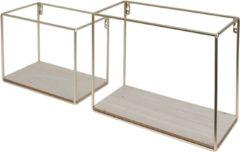 Duraline Stalen Box Houten Bodem Messing 25x30x14cm - Set van 2