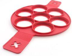 Rode 1x Siliconen Bakvorm Ei Pannenkoek - Ei Flipper - Maak de perfecte pannenkoeken gebakken eieren en omeletjes - Bakvorm ei – Bak eenvoudig 7 Gelijke Gerechten