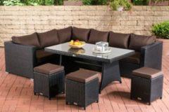 CLP Gartengarnitur SORANO Sitzgruppe mit 8 Sitzplätzen Gartenmöbel-Set aus Polyrattan In verschiedenen Farben erhältlich
