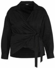Simply Be - Overhemd van katoen popeline met overslag en strik in zwart