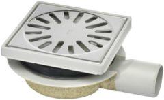 Zilveren Tegeldepot Doucheput Aquaberg ABS Vloerput ABS Opzetstuk Bezand RVS Rooster Zijuitlaat 50mm Verstelbaar 150x150mm PPC Reukafsluiter Reukslot 32mm